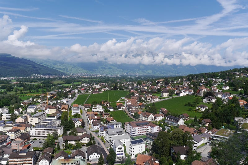 Landscape view over Schaan-Vaduz, the capital region of the microstate of Liechtenstein, on a spectacular, sunny day.