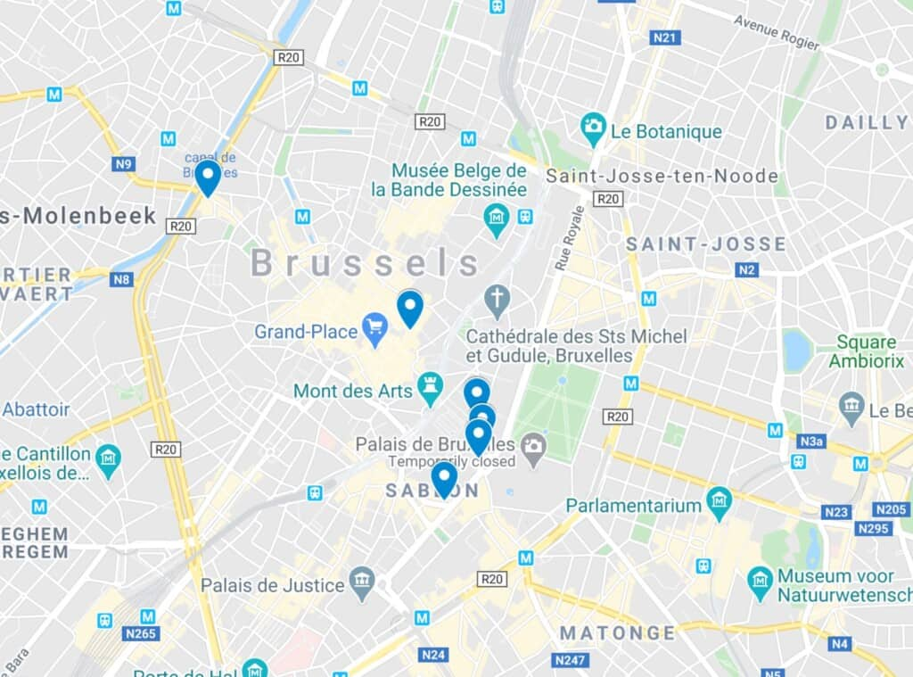 map where to eat in brussels belgium