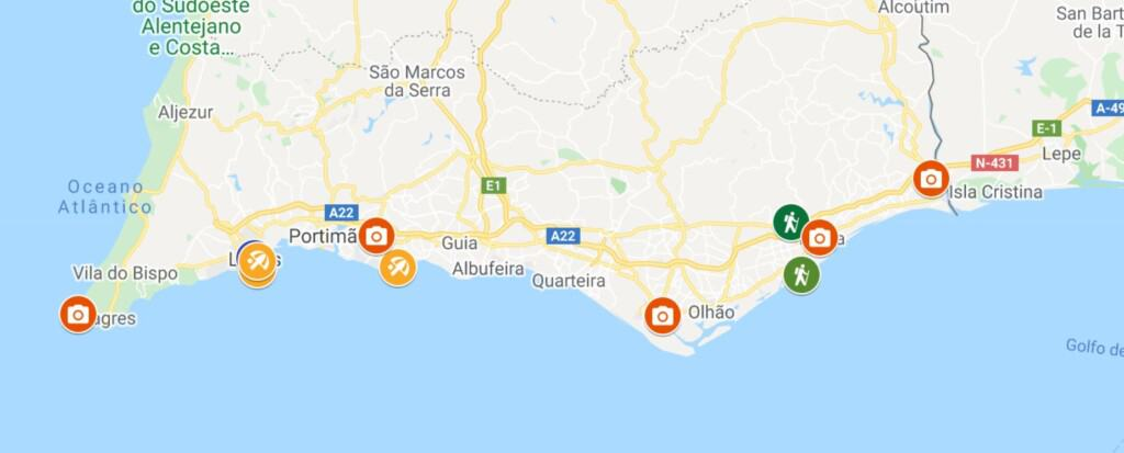 things to do in the algarve, map
