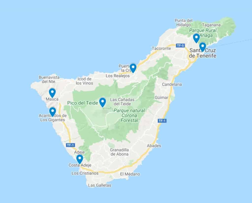 tenerife outdoor activities map