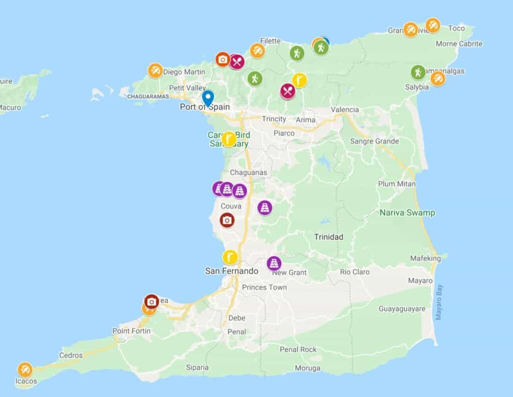 trinidad island map trinidad tobago