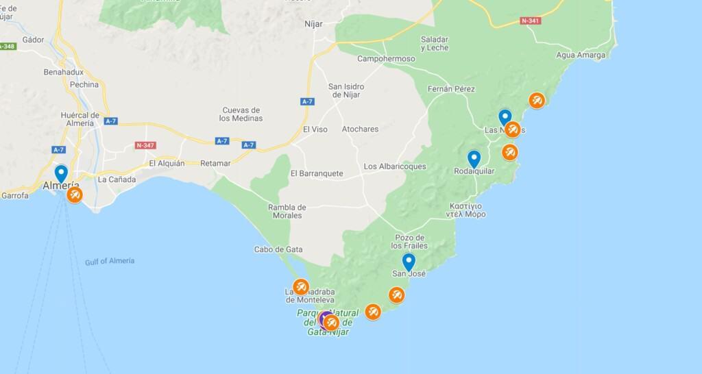 beaches in almeria map