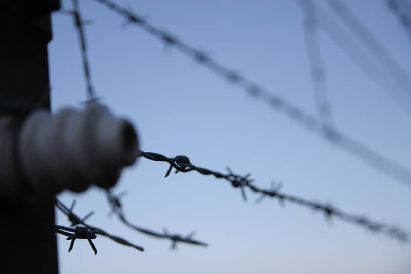 Barbed wire fence in nazi concentration camp