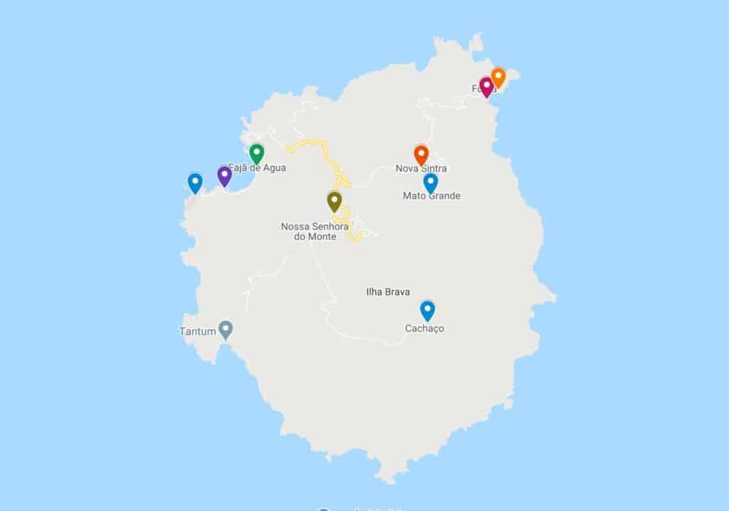 brava island things to do map
