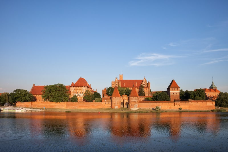 Malbork Castle by the Nogat River in Poland