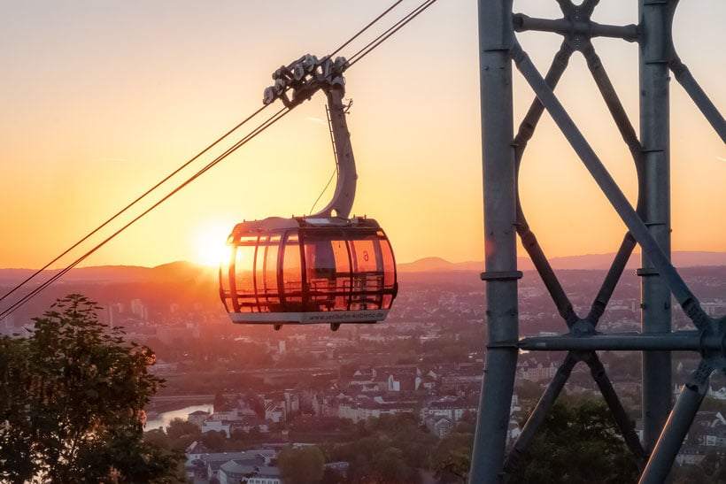 what to do in koblenz germany, sunset on the koblenz cable car