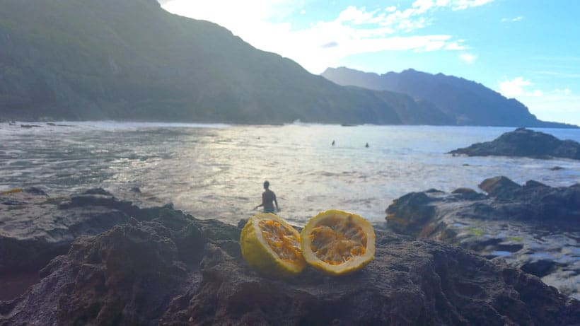 view on the beach of santo antao, cabo verde, tpical fruits from cabo verde, cape verde food