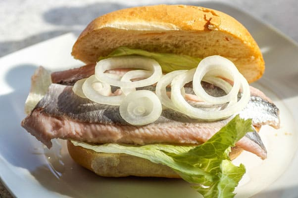 eating herring in a bun, den haag city guide, travel the hague