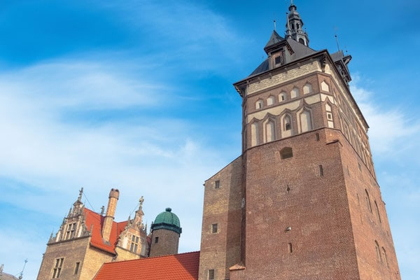historical sites to visit in gdansk, looking up at the former prison