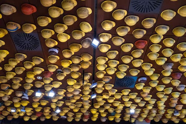 best things to see on a tour of gdansk, hard hats stuck to the wall