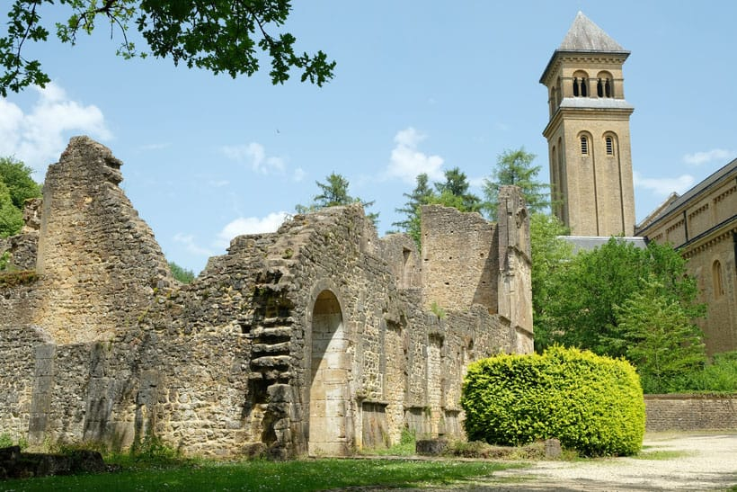 The old and new Orval Abbey places to visit around luxembourg day trip in luxembourg