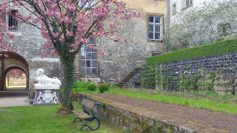 The lush parks of Ansembourg Castle, day trip to luxembourg