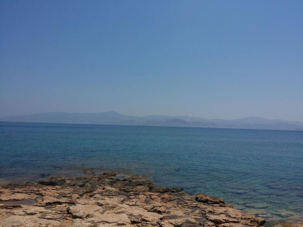 paros island activities, view over the water and mountains in the distance