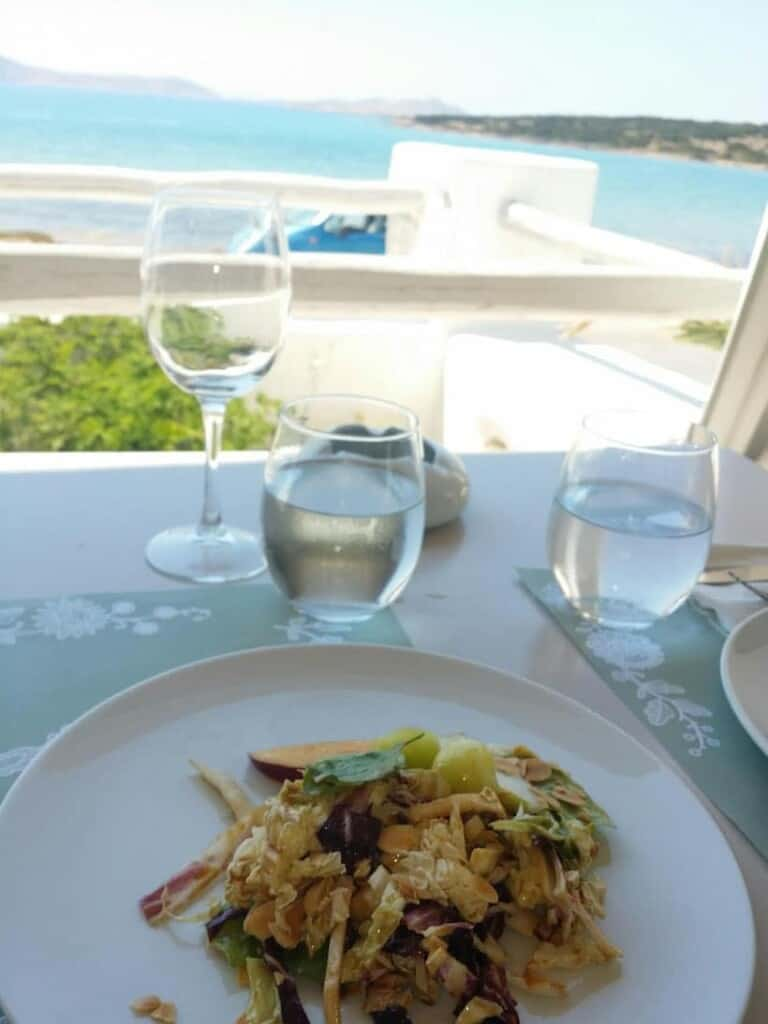 where to eat in paros, fresh salad with fruit and nuts from Siparos seaside restaurant