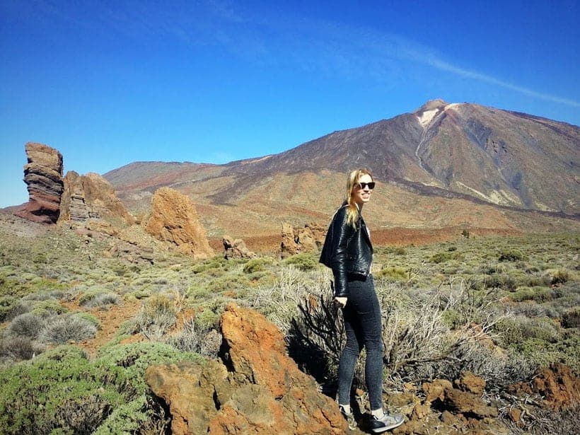 visit mount teide, discover tenerife, hiking in tenerife, happy girl mount teide