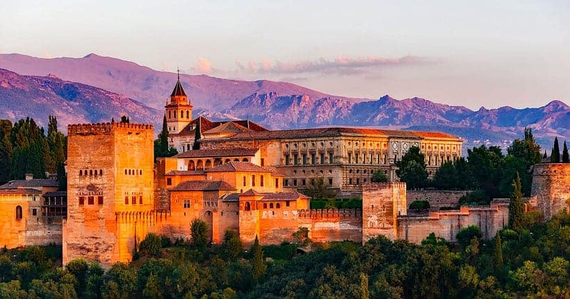 malaga day trip to granada, view of alhambra at sunset