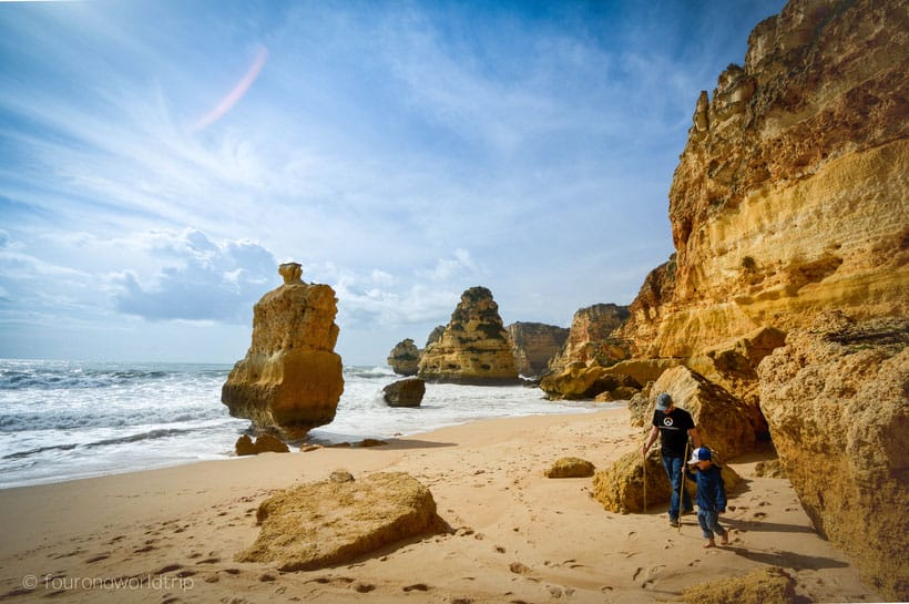 top tourist attractions in algarve, walking along the cliffs of Praia da Marinha Beach