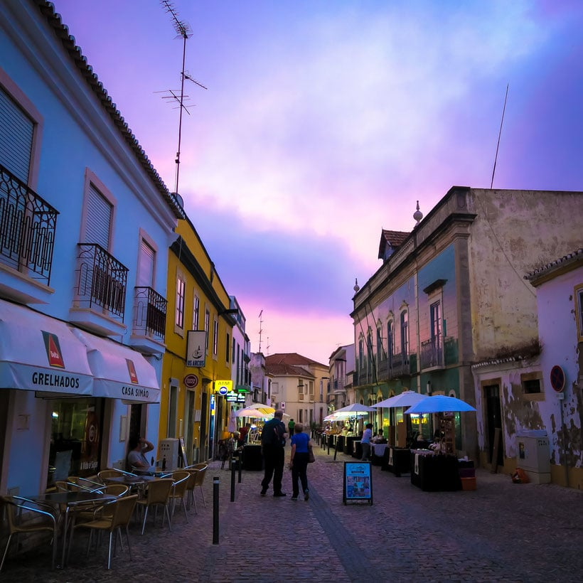 what to see in algarve, street in tavira at sunset
