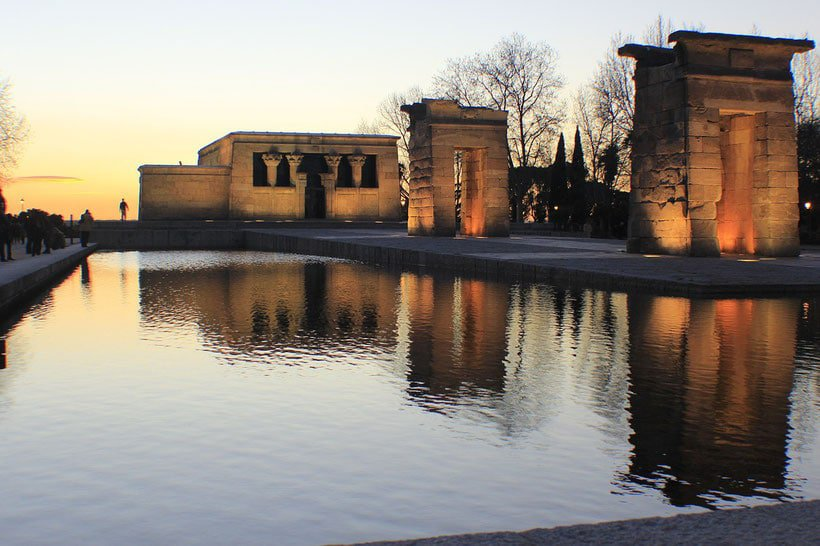 Debod Temple at Sunset, where is the best place to stay in madrid, madrid neighborhoods
