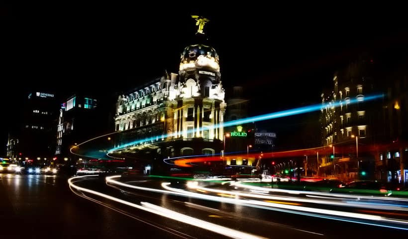Gran Via at Night, best area to stay madrid, where to stay in madrid spain