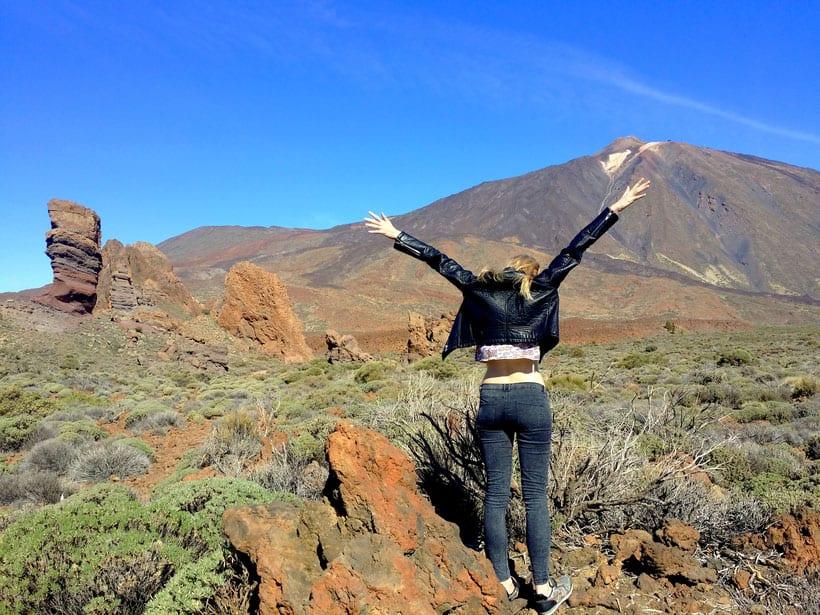 visit mount teide, discover tenerife, hiking in tenerife, happy girl mount teide