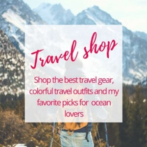 Shop the best travel gear, colorful travel outfits and my favorite picks for ocean lovers