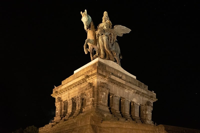 places to see in koblenz, kaiser wilhelm 1st statue at night