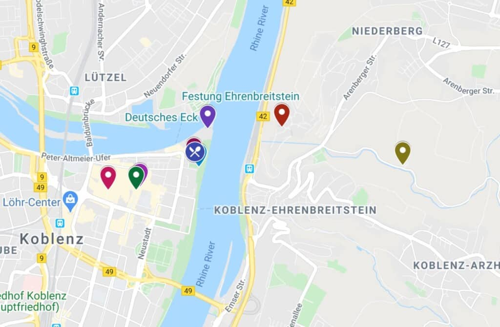 things to do in koblenz map