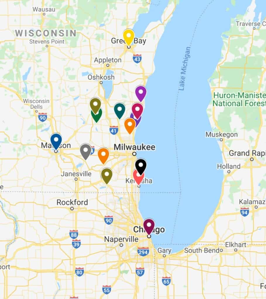 best day trips from milwaukee, map
