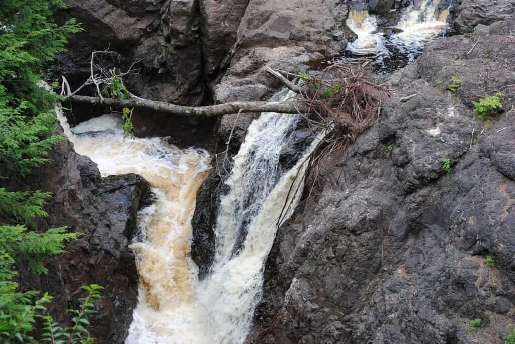 best trails in wisconsin for waterfalls, aerial view of waterfall at cooper falls