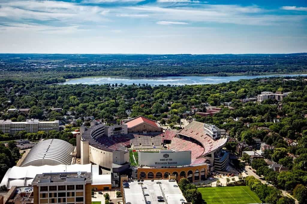 best milwaukee day trips, aerial view of camp randall stadium in madison wisconsin