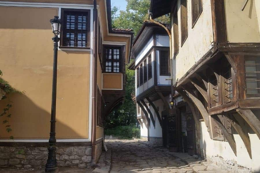 narrow street in old town plovdiv revival house bulgaria