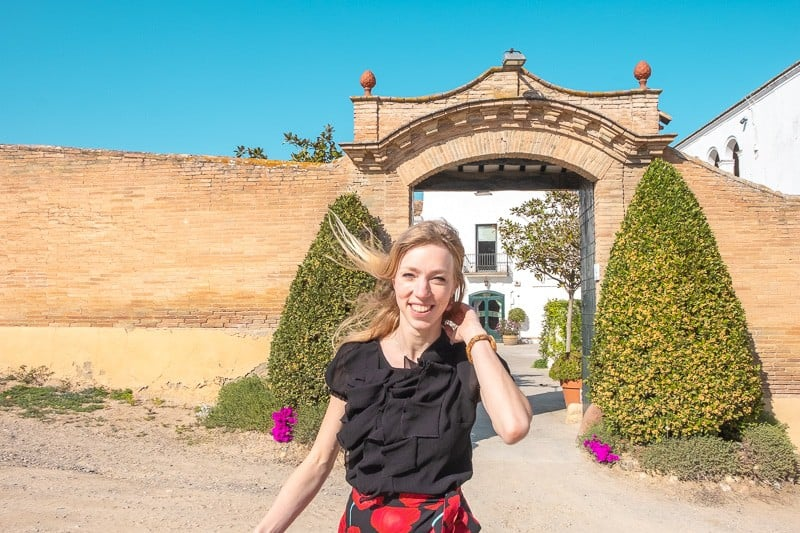 wine tour barcelona, wineries near barcelona, Cava Tasting in Ca N'Estella. clot dels oms, champagne tasting, catalonia, happy girl, travel blogger