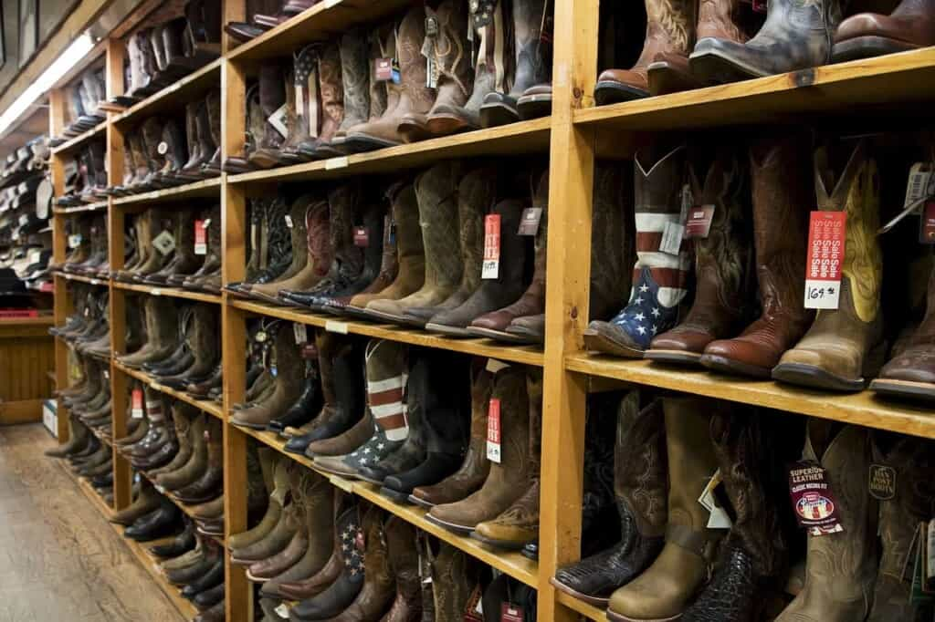 shopping in wisconsin dells, boots in a shop, what to do in wisconsin dells