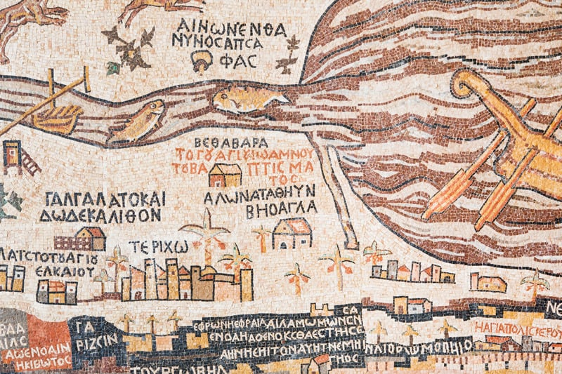 , jordan, amman, mosaic replica of antique Madaba map of Holy Land