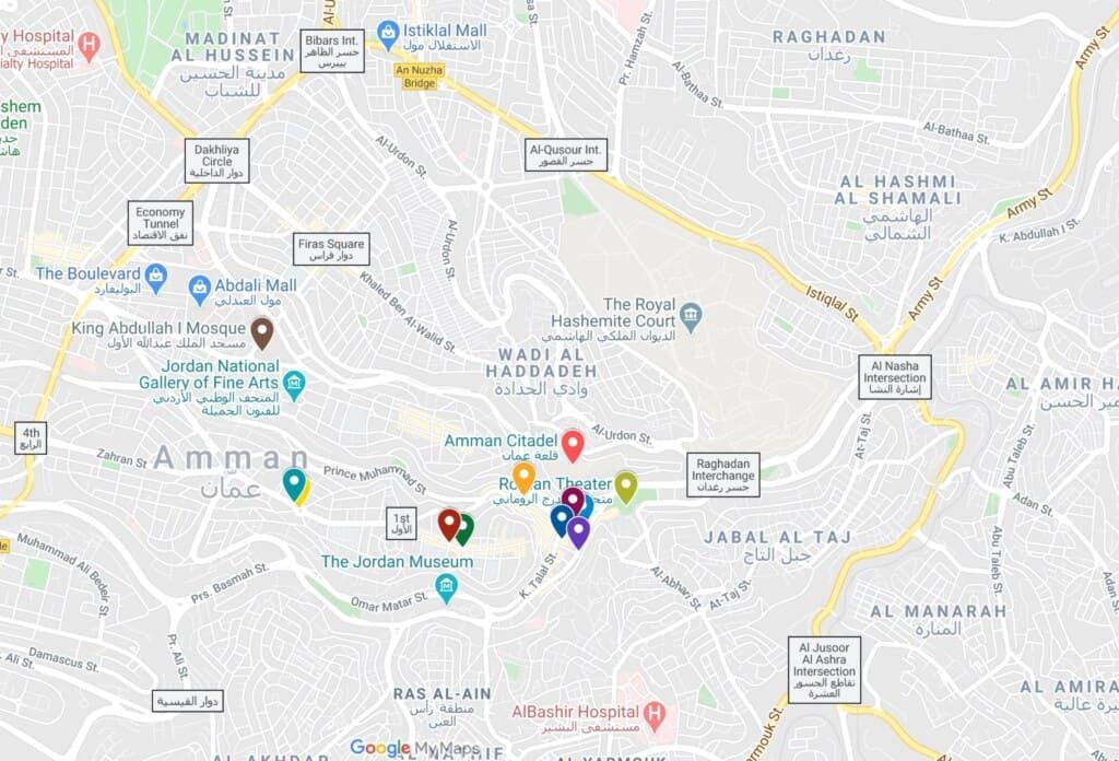 map amman jordan