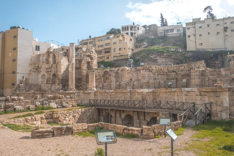 Top fun places to visit in Amman Jordan, impressive view of the Roman Nymphaeum near the pigeon market of amman