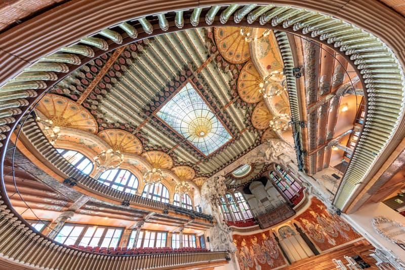 BARCELONA -  Catalan Music Palace interior. This is a major tourist attraction.