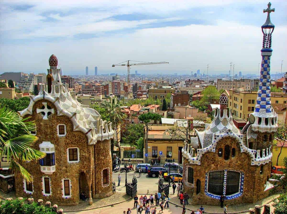 Most famous buildings in Barcelona, overlooking Park Guell