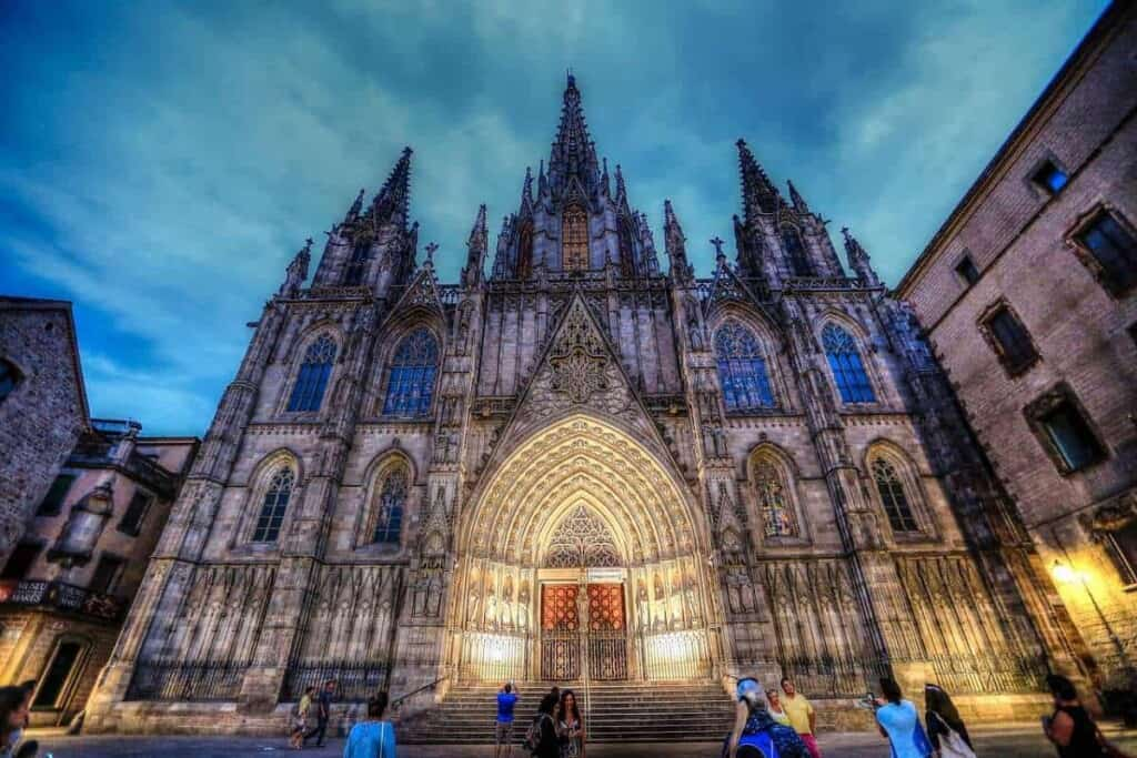 Most famous landmarks in Barcelona, the Gothic Cathedral in the Gothic Quarter