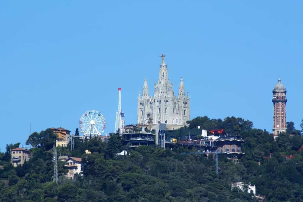 Most famous landmark buildings in Barcelona, view of Tibidabo Cathedra