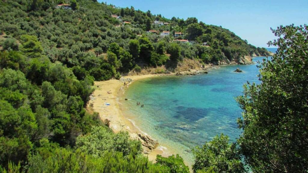 best beaches on skiathos, skiathos beaches, beautiful beaches greece, skiathos beach, watersports, greece travel blog
