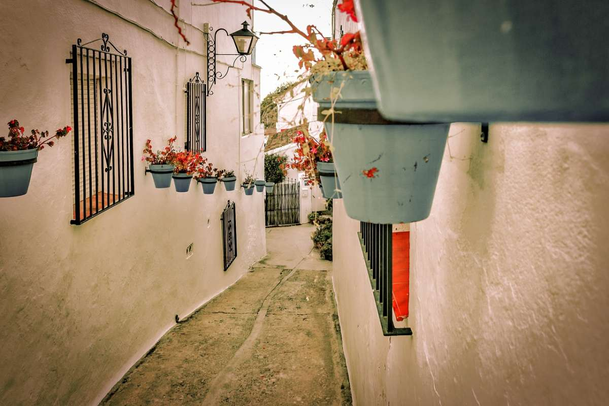 day trips to mijas from malaga, narros white washed street of mijas spain lined with flowerpots