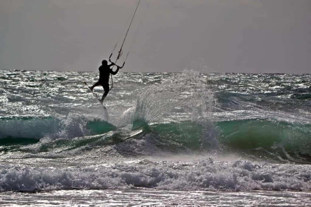 best beaches south of spain, kite surfer in southern spain beach