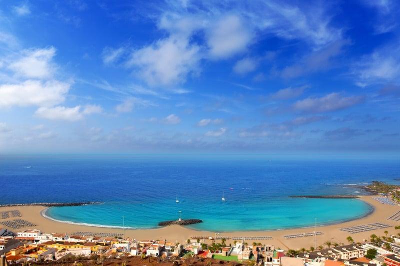 Aerial view Las Vistas beach in Arona south Tenerife