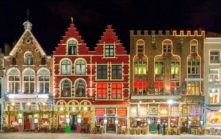 Christmas decoration and lighting Old Market Square in the historic center of Bruges, Belgium.
