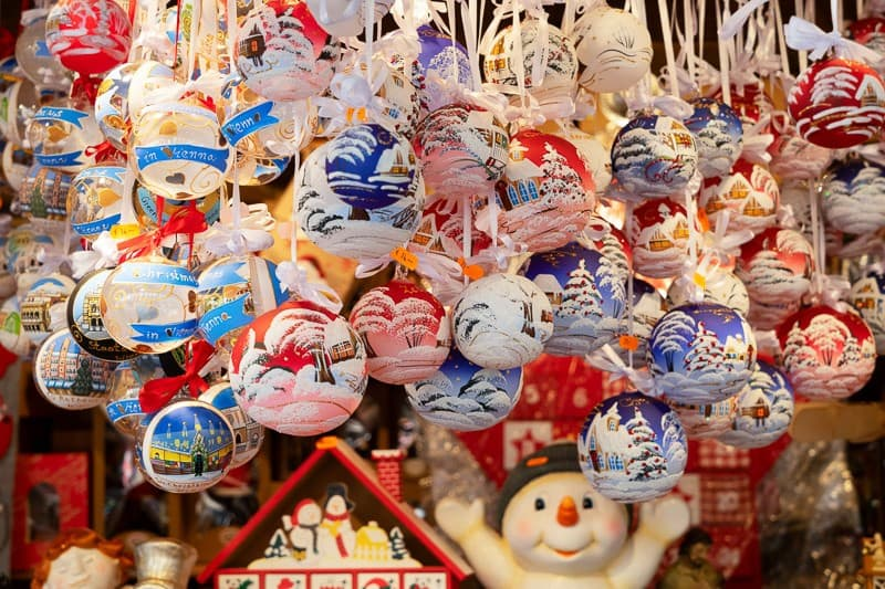 Christmas market kiosk - traditional hanging christmas tree decorations