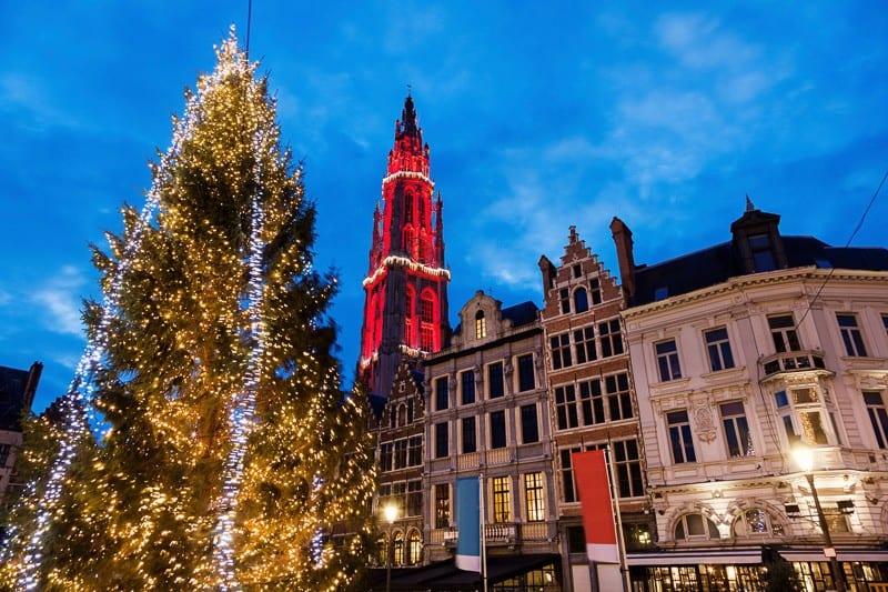 Christmas on Grote Markt in Antwerp. Antwerp, Flemish Region, Belgium