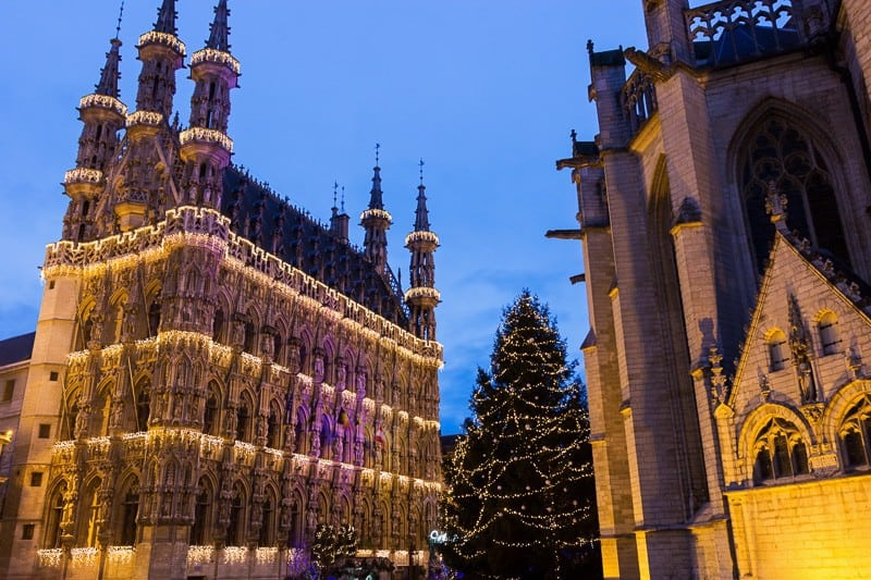 Magnificent City Hall of Leuven and St. Peter's Church in Belgium