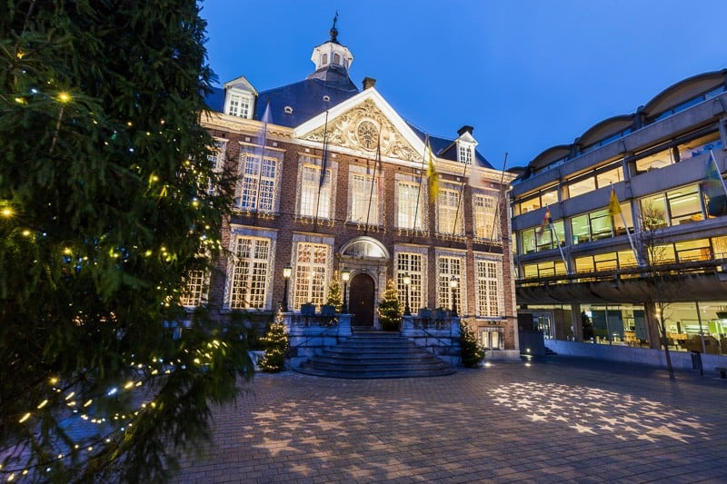Hasselt city hall at night. Liege, Flemish Region, Belgium.